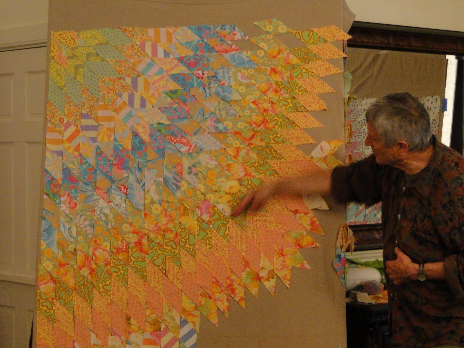 Big Rig Quilting - Kaffe Fasset class - looking at John Kubiniec's quilt.