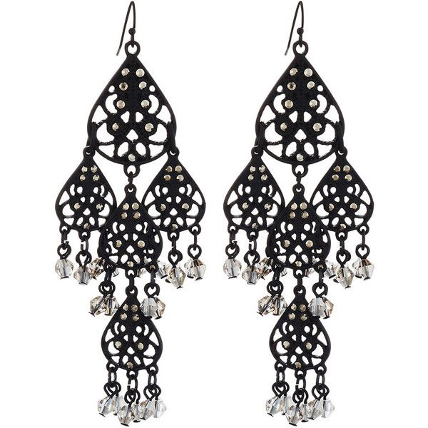 Lydell Nyc Filigree Teardrop Crystal Chandelier Earrings 18 Liked On Polyvore Featuring Jewelry
