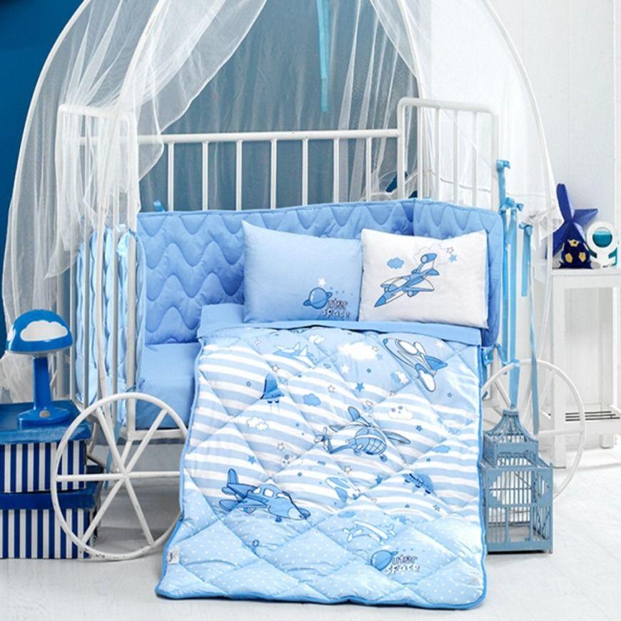 مفرش أطفال مواليد سوبر وينجز سماوي عدد القطع 5 Baby Bed Toddler Bed Bed