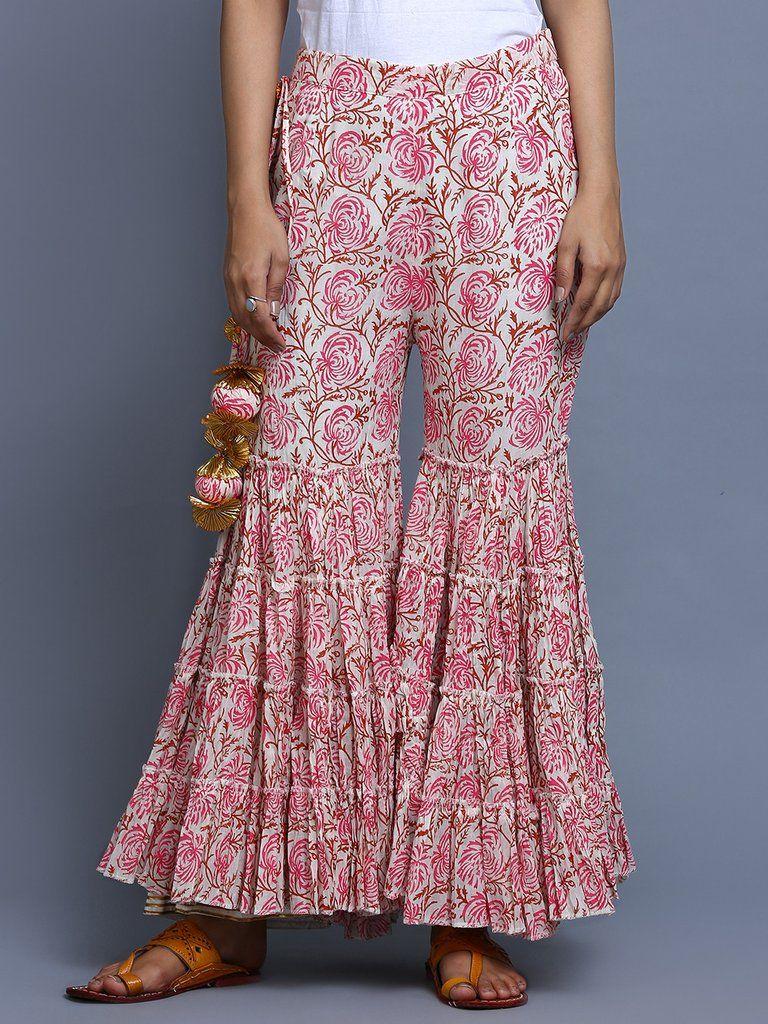 3031409588 Pink Hand Block Printed Cotton Sharara | pants plazo in 2019 ...