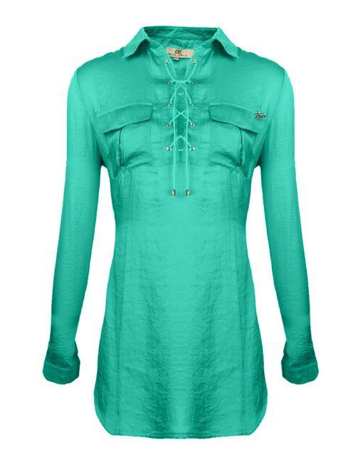 a55936defe97c9 Goldie Estelle zijden satijn tuniek blouse turquoise groen veters  borstzakken dames - Soepelvallende blouse met satijnen