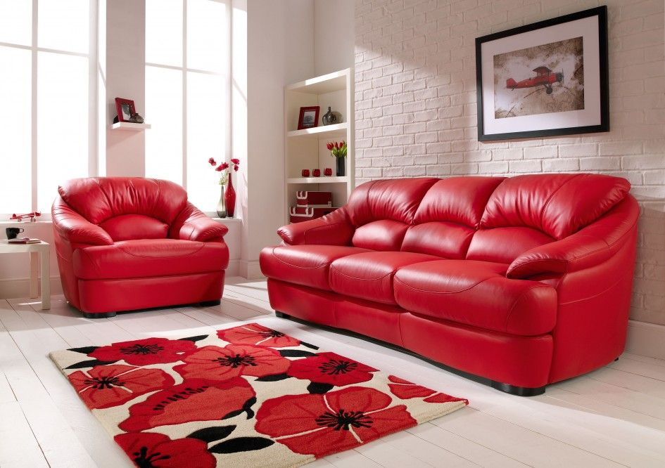 Furniture Red Leather Sofa Color With Floral Pattern Rug And