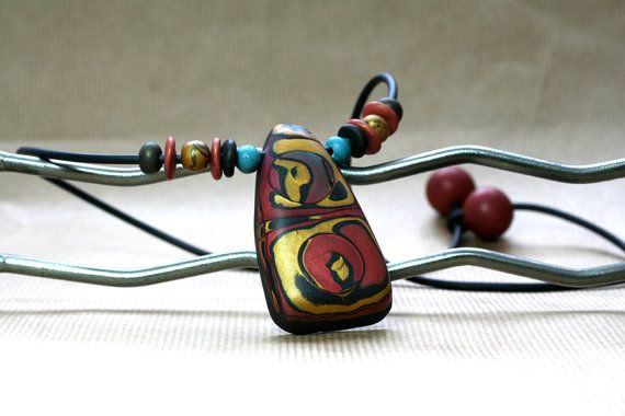Desert sunset Tribal ethnic necklace Polymer art by JagnaB on Etsy