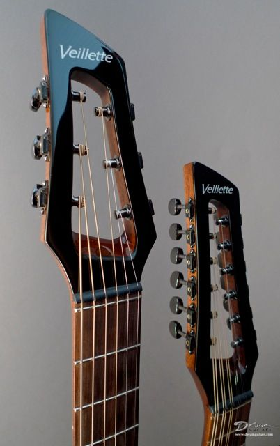 Veillette Double Neck Gryphon standard 6-string and short-scale 12-string headstocks with Gotoh Stealth tuners