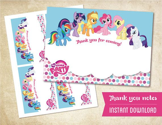 Instant Download My Little Pony Thank You Notes By Magicalparty 4 00 My Little Pony Printable My Little Pony Birthday My Little Pony Birthday Party