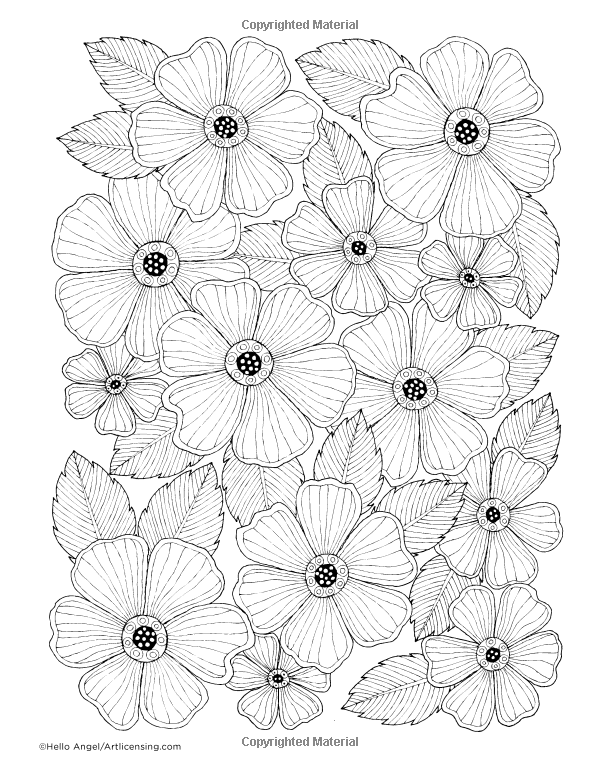 Hola Ángel hermoso grande Flores para colorear Collection (Colección ...