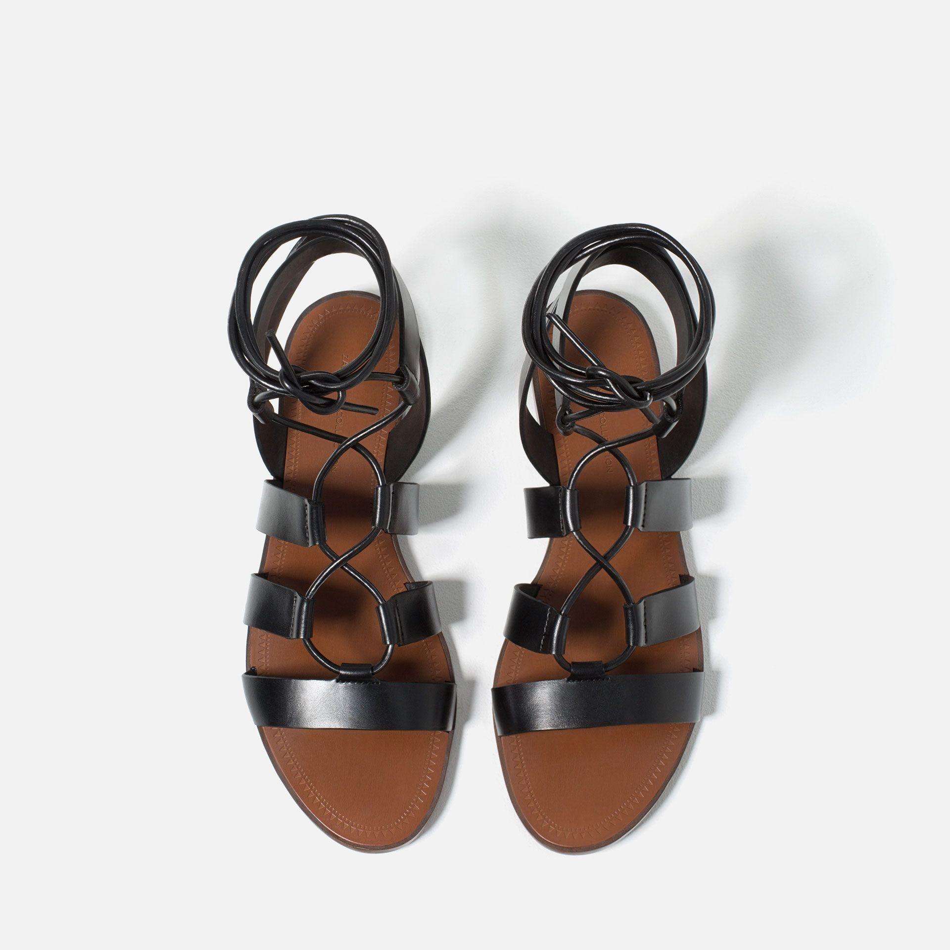 sandales plates À lacets - chaussures et sacs - femme - nouveautÉs