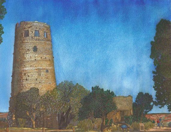 Watchtower at Desert View by jonalmondartworks on Etsy