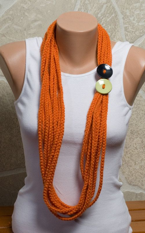 ORANGE Chain Scarf Crochet hand made scarf  Autumn by ozlemdesign, $16.90