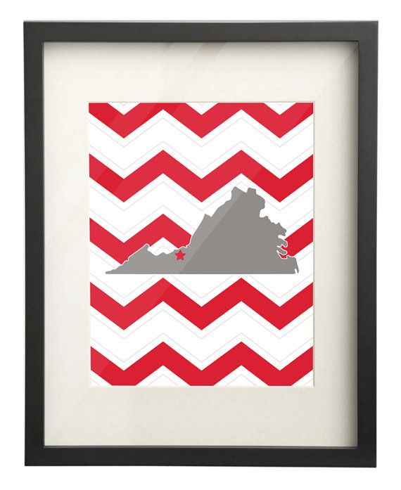 Radford University Virginia State Map 8x10 by paperfreckles ...