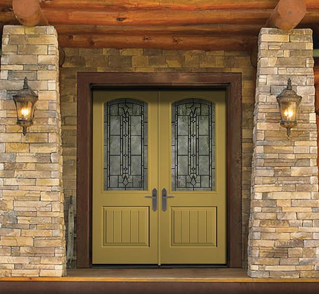 Classic Craft Canvas Collection Fiberglass Doors Painted Different Gold  With Lucerna Decorative Glass