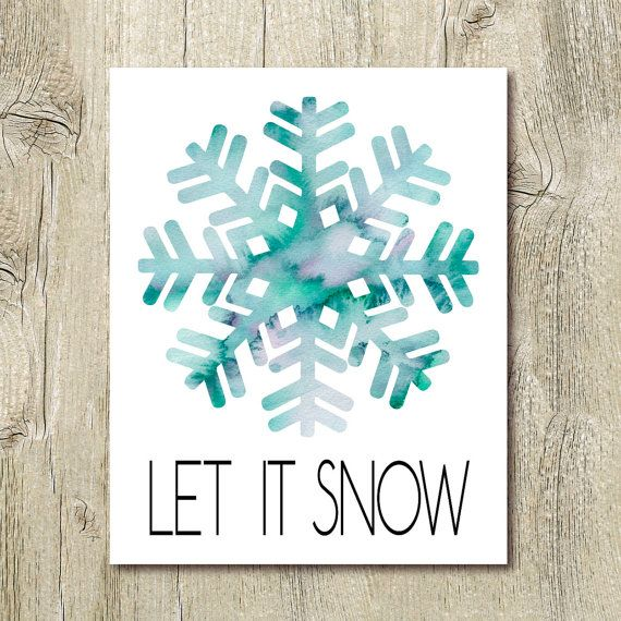 Let it snow holiday printables watercolor snowflake for Third party wall notice