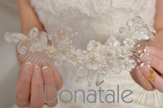 Vintage bridal headpiece- Fascinator Bridal hair comb-Lace wedding hair comb -Wedding hair accessories -Bridal hair piece -NINON