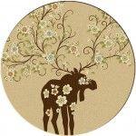 National Park Moose Blossom Natural Round Rug