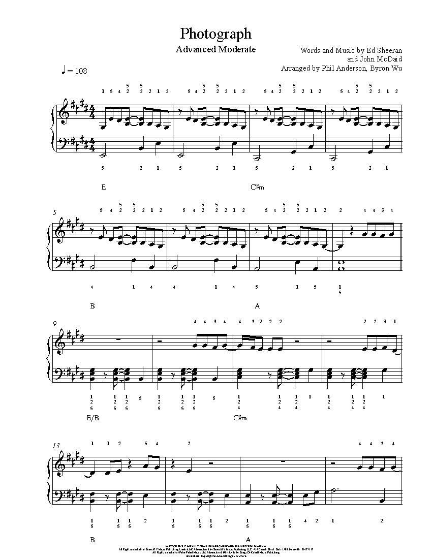 Photograph By Ed Sheeran Piano Sheet Music Advanced Level