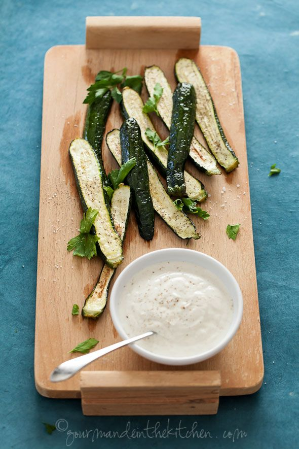 Grilled Zucchini and Summer Squash with Yogurt Cumin Sauce
