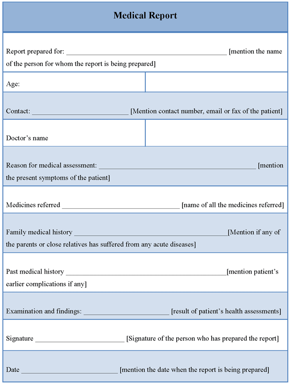 Medical Report Template  Projects To Try    Medical