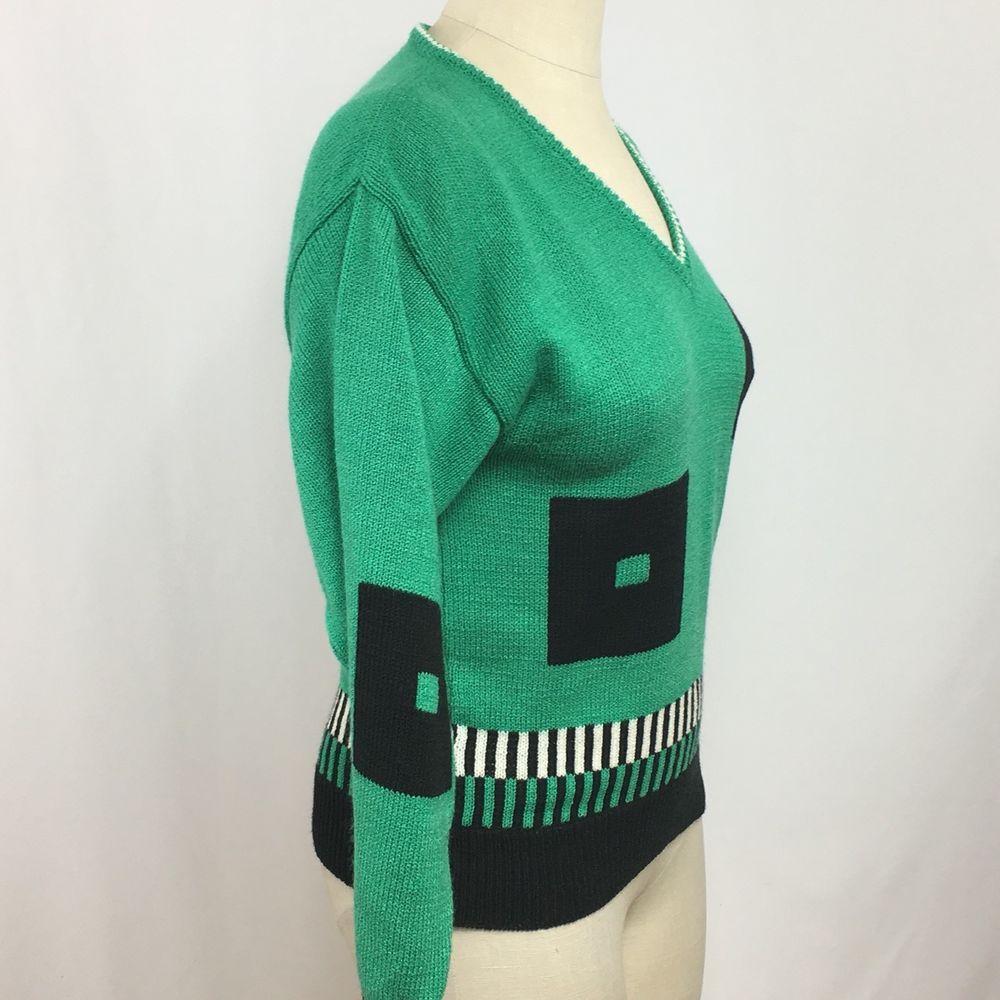 Neiman Marcus Sweater Womens Medium Green Navy Blue V Neck