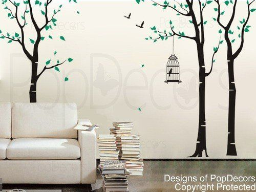 PopDecors   Three Birch Trees And Birdcage Custom Beautiful Tree Wall  Decals For Kids Rooms Teen Part 82