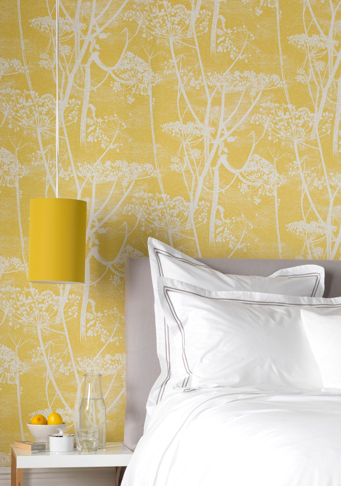 Yellow Cow Parsley Wallpaper Feature Wall Bedroom Yellow