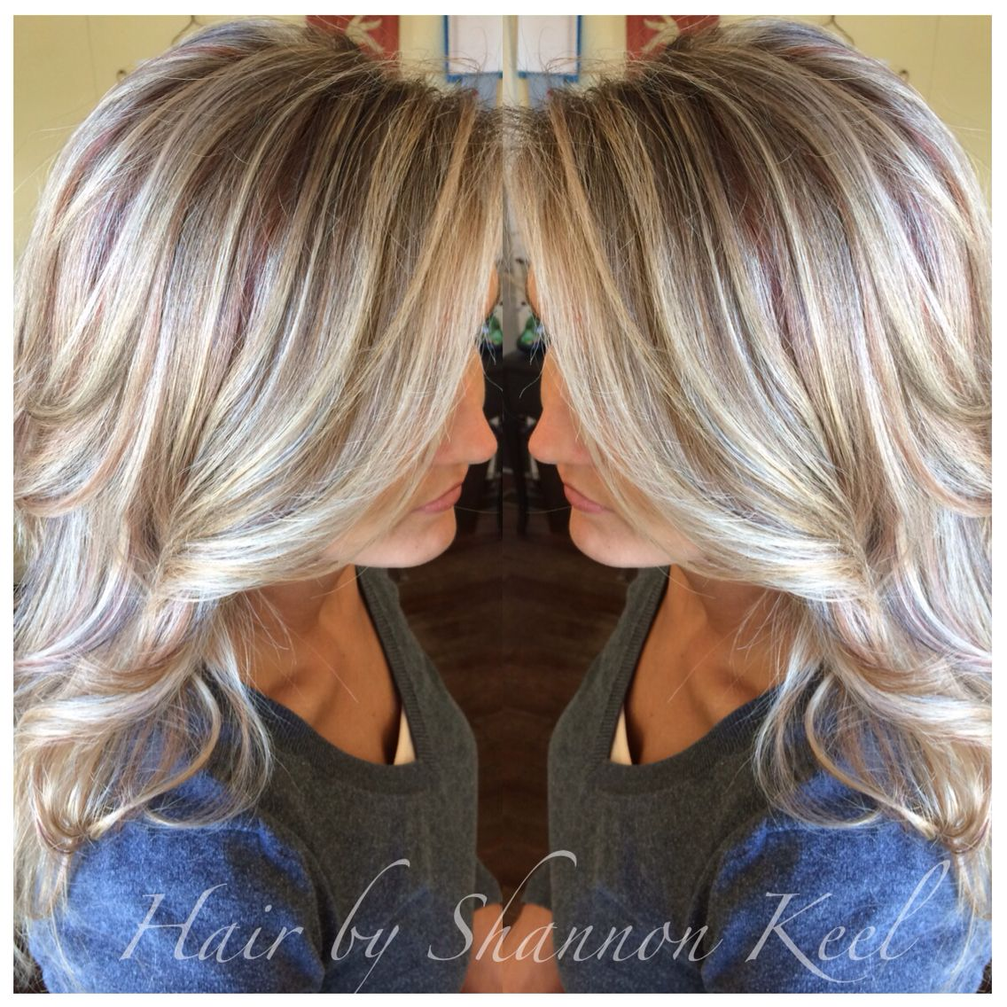 Platinum blonde Hilights and lowlights with little pops of reds an