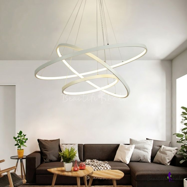 Contemporary Aluminum Halo Led Chandelier Led Warm White Light 1 Tier 5 Tier Multi Light Pendant Lighting In White For Foyer Hotel Dining Room Modern Lighting Chandeliers Led Chandelier Dining Room Contemporary