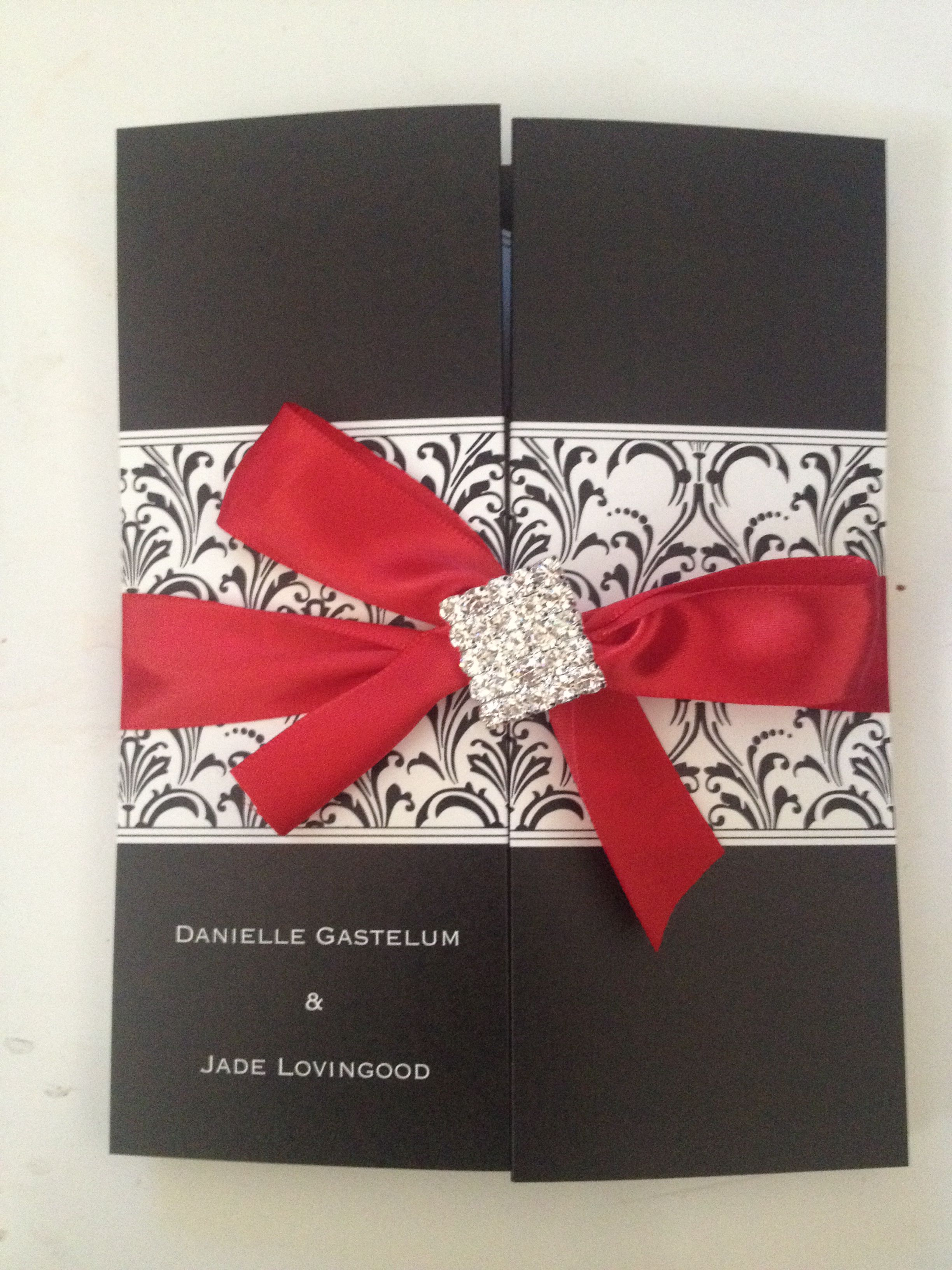 Used a David\'s Bridal invite - bought my own ribbon (they charge too ...