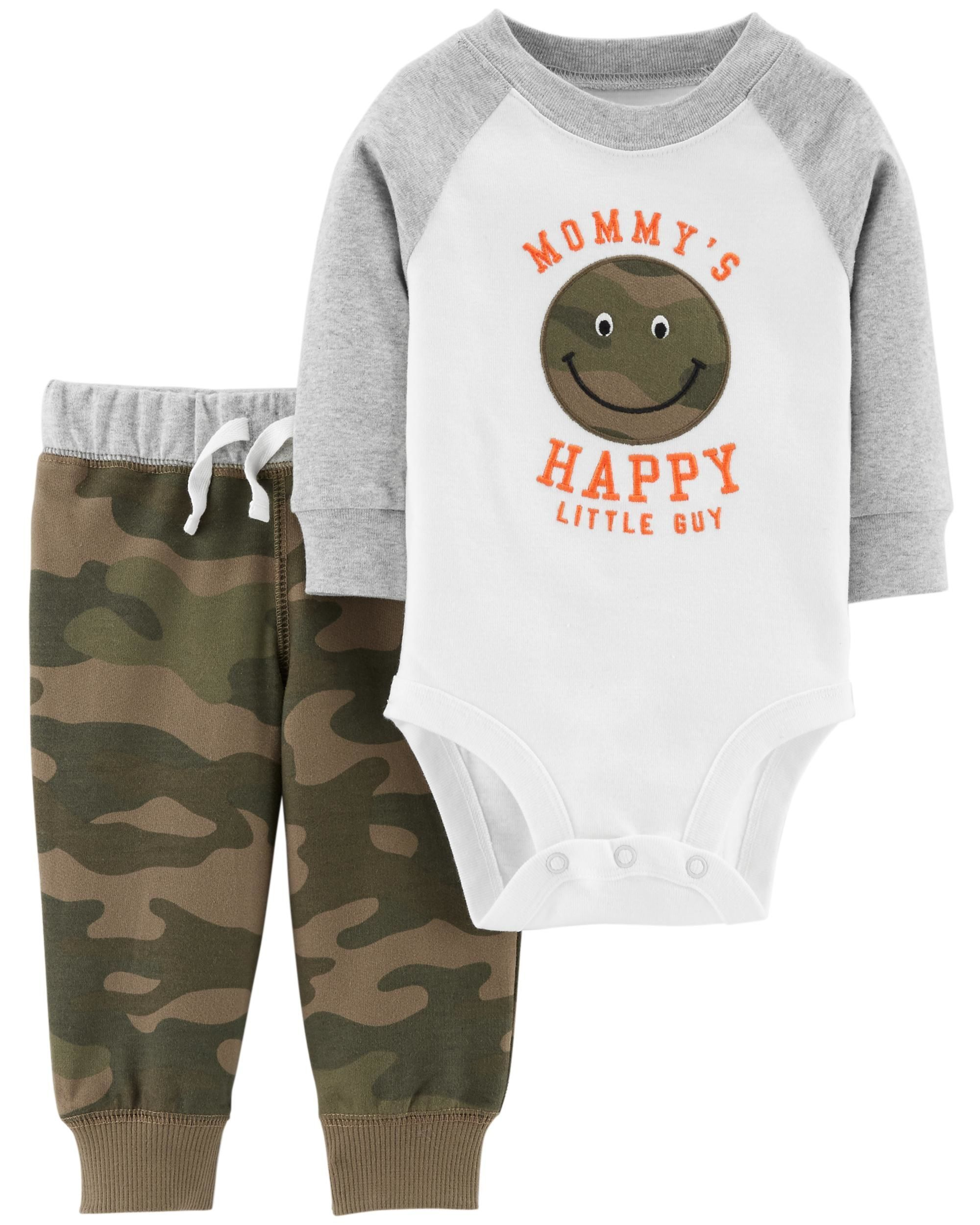 313ee48db Complete with an embroidered, raglan-sleeve bodysuit and coordinating camo  pants, this 2-piece set takes him from nap time to playtime with ease!
