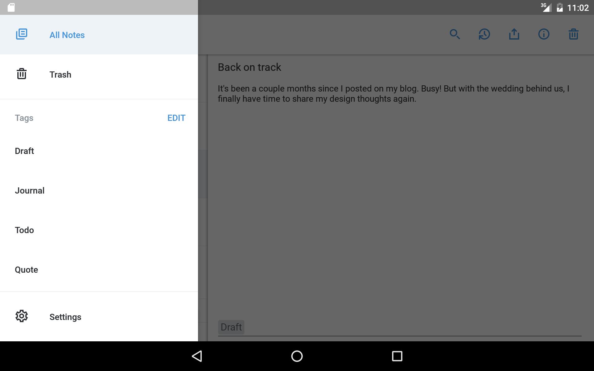 Screenshot Image All notes, Up, running, App