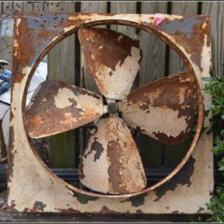 Rusty interesting items like this fan, can make a good garden feature.