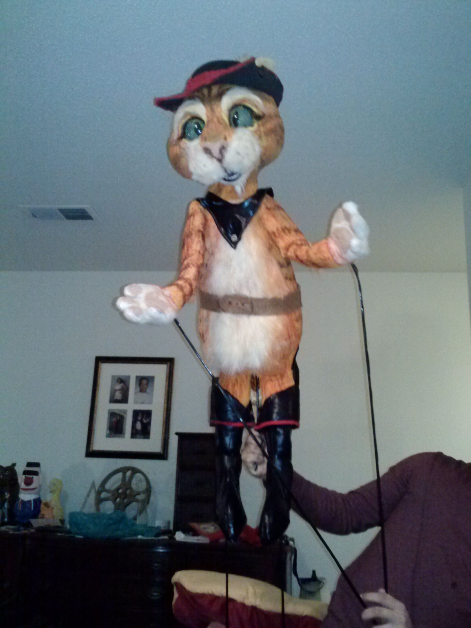 Puss in Boots for Shrek the Musical. The full puppet set is