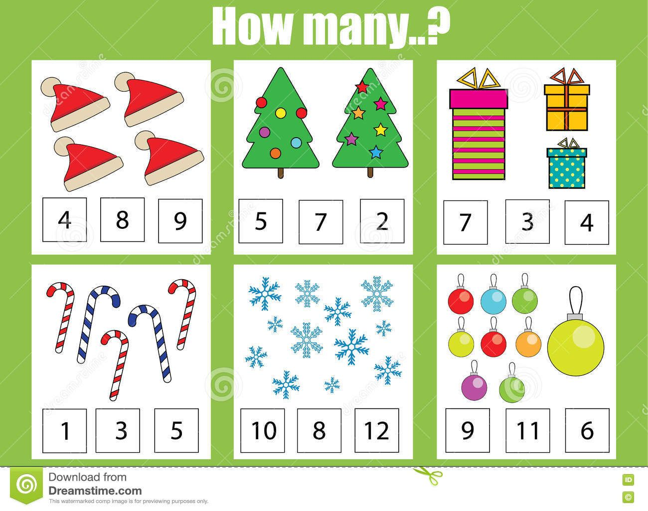 Counting Educational Children Game Kids Activity How Many Objects Task Christmas Theme Stock V Activities For Kids Christmas Themes Activity Sheets For Kids [ 1025 x 1300 Pixel ]
