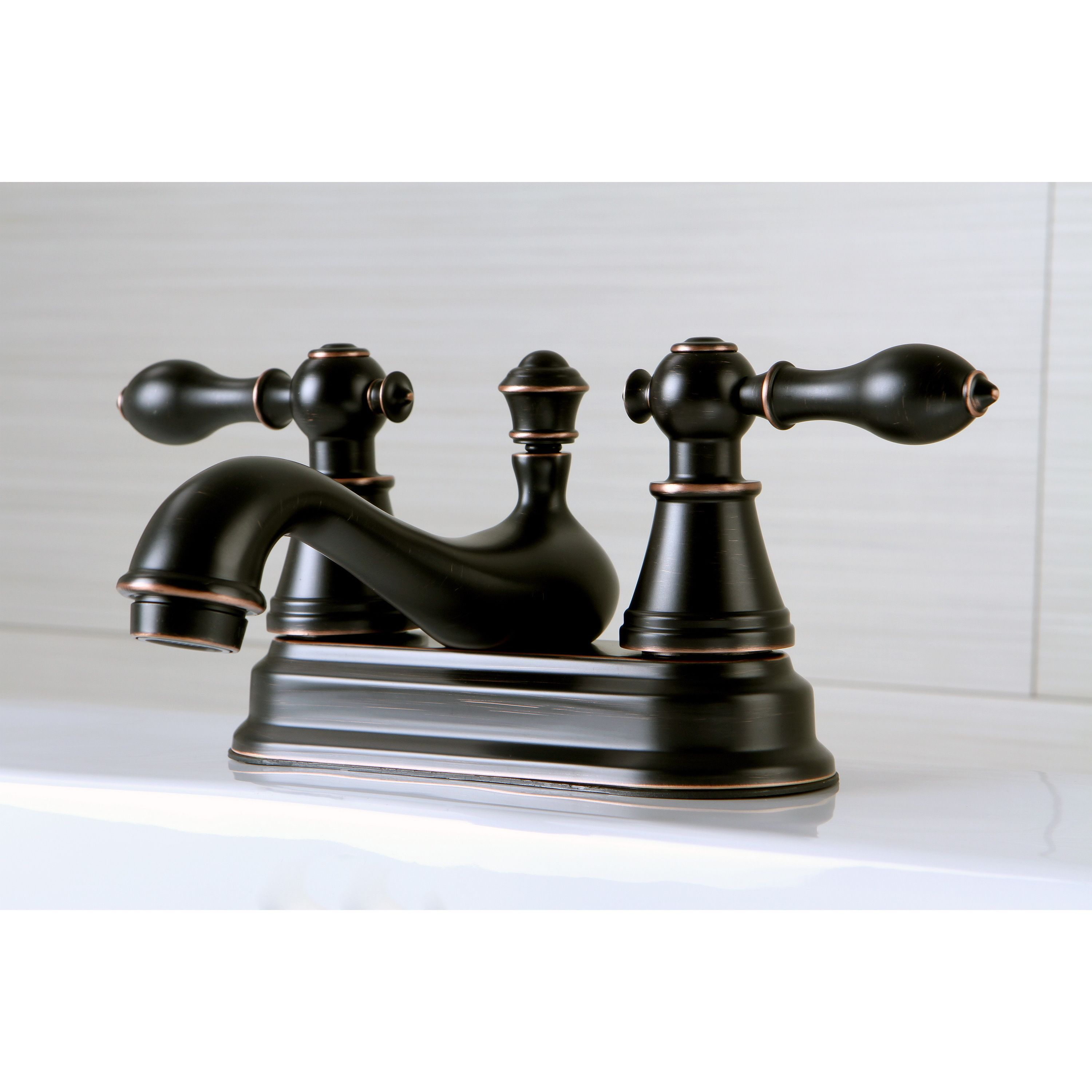 Kingston Brass Traditional 2 Tone Oil Rubbed Bronze 4 Inch Centerset Bathroom Faucet Oil Rubbed Bronze Bat Bathroom Faucets Oil Rubbed Bronze Kingston Brass
