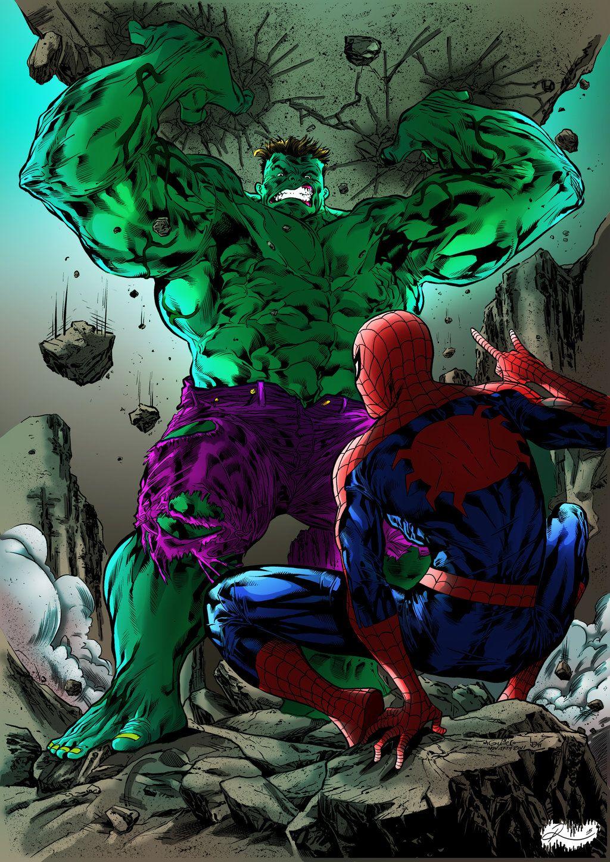 Открытки с человеком пауком и халком, днем