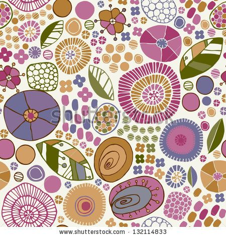 Decorative floral stylized texture. Endless pattern with flowers, leaves, petals. Template for design fabric, wrappers, covers, backgrounds ...