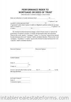 Sample Printable Perf Mortgage Addendum  Form  Sample Real