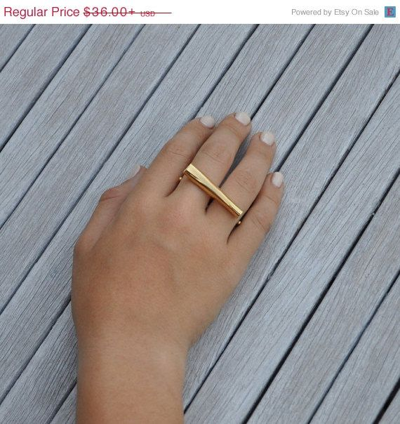 Double Finger Bar Ring Two Finger Ring Knuckle Duster Ring Gold