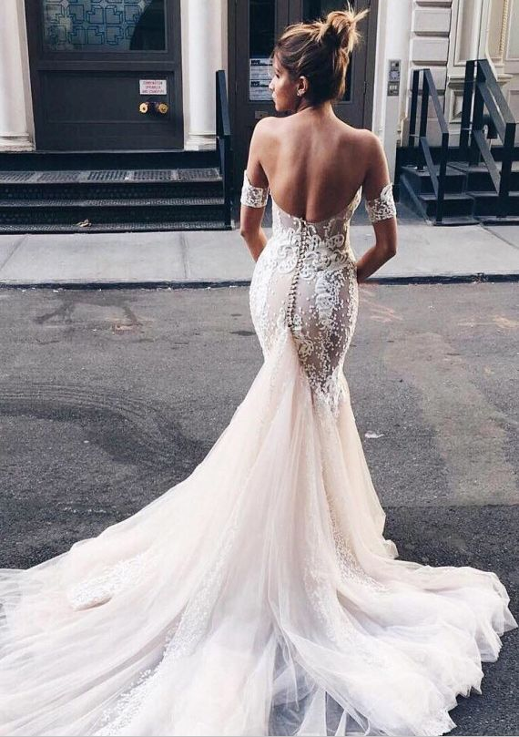 Mermaid Sweetheart Backless Light Champagne Wedding Dress with ...