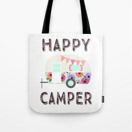 a37221818f44 Happy Camper - Retro Floral Camper Tote Bag  camper  cutegiftideas  gift   toteBag  Bag