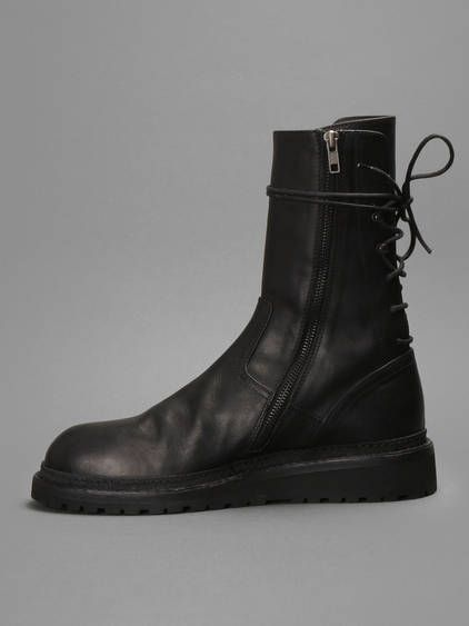 Streamlined silhouette w/ Ann Demeulemeester back lace boots with side zip  fastening #anndemeulemeester