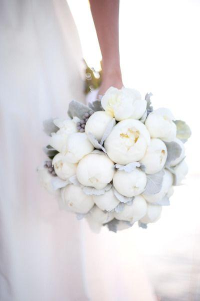 white & gray wedding bouquet by @Garden Party