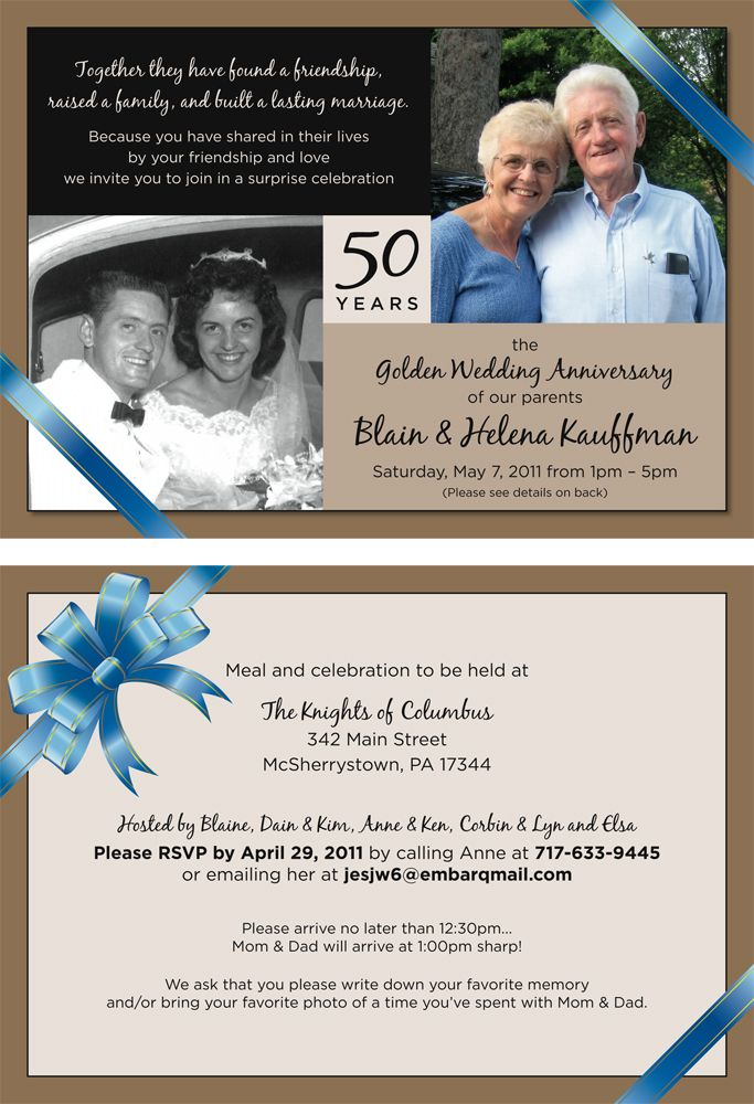 Project: 50th Wedding Anniversary Party Invitation / Location ...