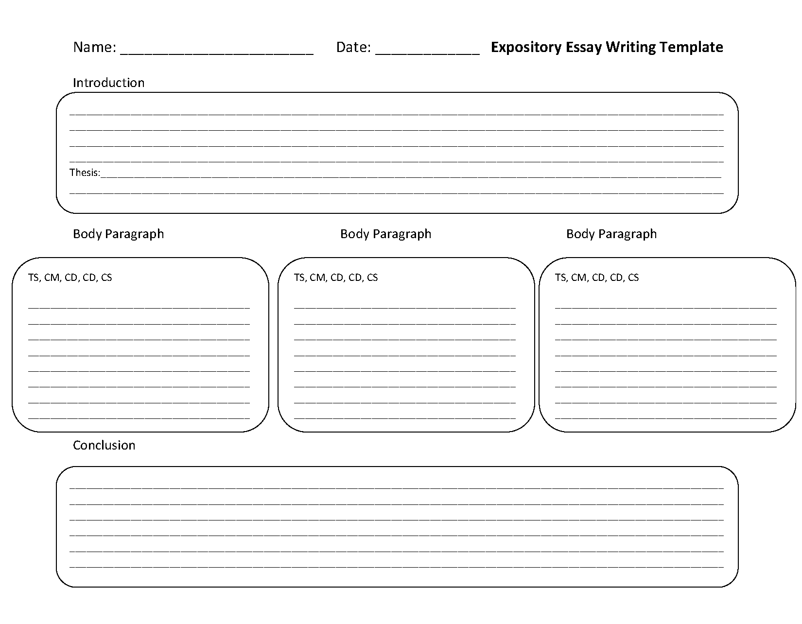Expository Essay Writing Template Worksheet