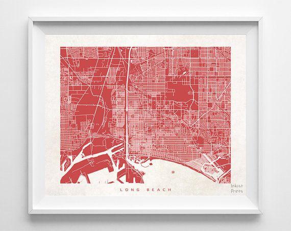 Long Beach Map California Print Californian Poster Map Print