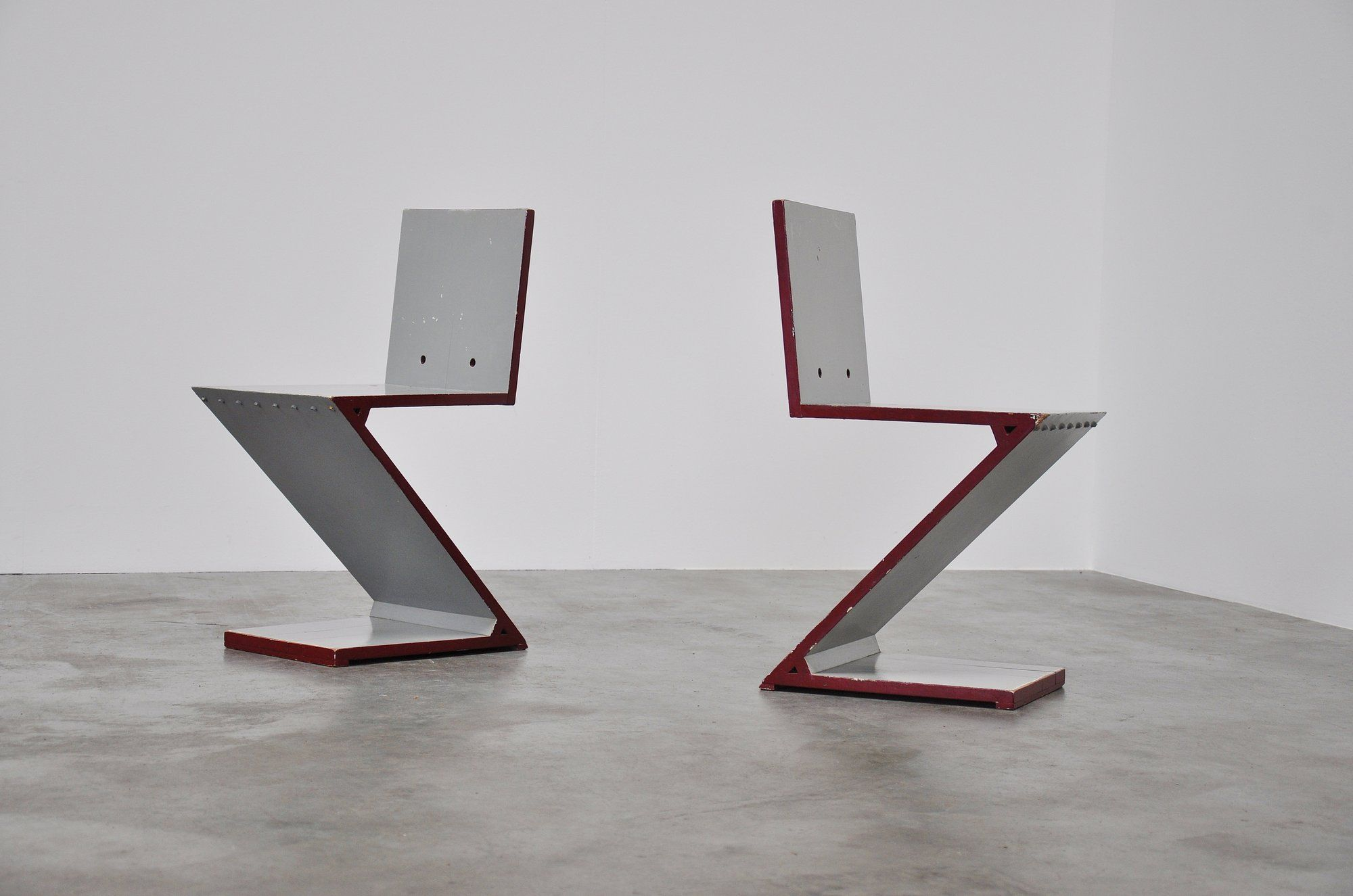 Gerrit rietveld chair for sale - Gerrit Rietveld Zig Zag Chair Pair G A V D Groenekan 1961