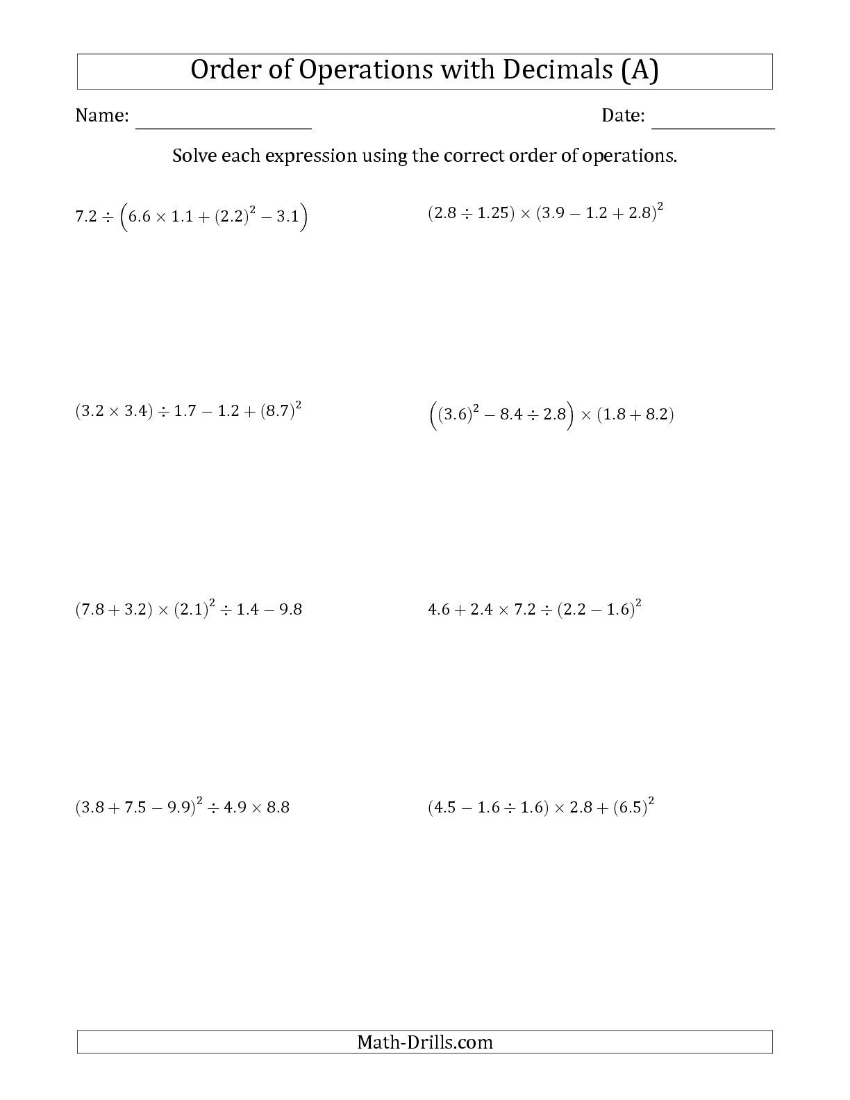 The Order Of Operations With Positive Decimals Five Steps