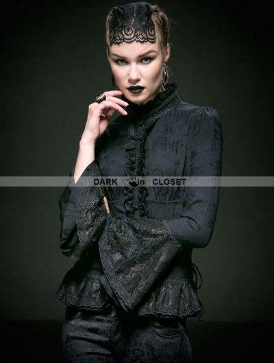 Gothic Mera Luna,Y- 587 Romantic WGT Viktorianische Bluse Punk Rave Satin