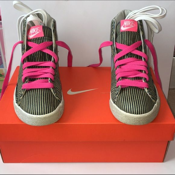 nike blazer pink and white stripes