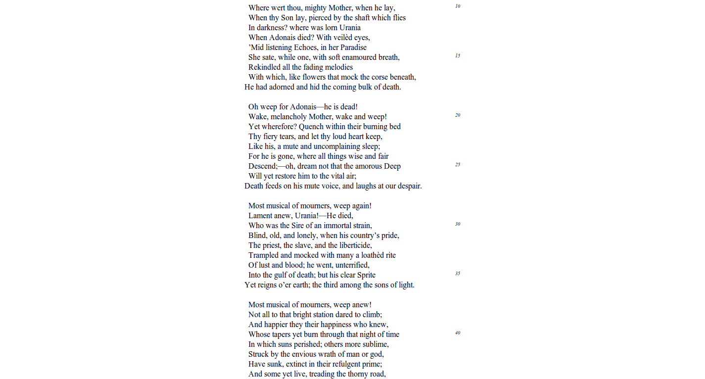 a literary analysis of an elegy on the death of john keats Essays and criticism on john keats john keats world literature analysis its counterpart in the unspoken death of the village again keats brings life and.