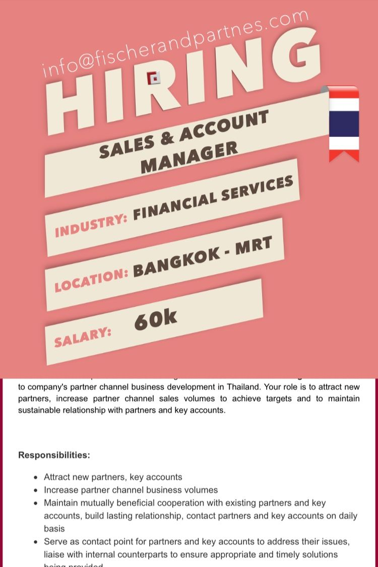 Seeking Sales Account Manager To Work In Bangkok Thailand